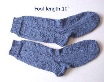 "Wool socks hand knit.  Foot length 10"" . Boot socks.  Boot liners. Slipper socks.  Denim blue wool.  Ready to ship"