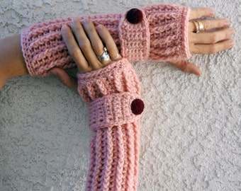 Petal pink arm warmers, fingerless gloves, texting gloves, crochet gloves, boho gloves, hand warmers, mittens, boho fashion, button gloves