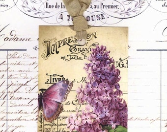 Tags , Spring Lilacs and Butterfly Tags , Vintage Style ,  Lilac Gift Tags , French Tags , Shabby and Chic