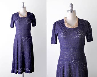 30's lace dress. m. 1930's vintage dress. navy blue. drop waist. collar.