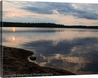 Nature Photography, Photo Canvas, Cloud Reflection, Boundary Waters, BWCA Print, Leather Wall Art, Sunset Images, Minnesota Lake, Unique