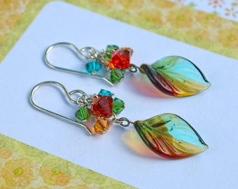 High Country Autumn, Earrings in Glass, Crystal, and Sterling Silver