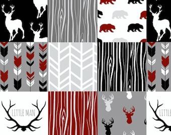Lodge Lumberjack Baby Quilt, Red Black Grey Gray Woodland Rustic Crib Quilt, Deer Bear Little Man Antler Baby Boy Quilt, Minky Baby Blanket
