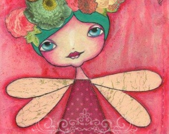 ART PRINT - SUMMER  Mixed Media Whimsical Art Girl with Flowers & Butterflies Print A4 size Free local Postage