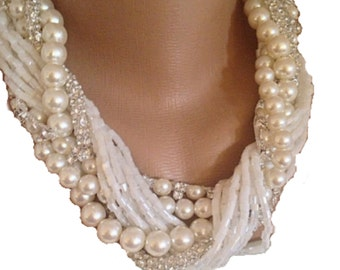 Multi Strand Brides Choker ,braided pearls Weddings Chunky Bold Pearl ,Bridal Ivory Necklace