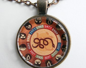 CHINESE YEAR of the SNAKE Necklace -- Chinese Zodiac for him and her, Chinese New Year, Astrological birthday present, Zodiac art