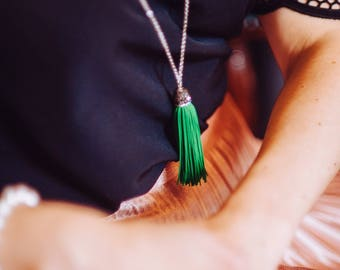 Green tassel necklace, long silver tone chain necklace, tassel inlain in Swarovski crystals
