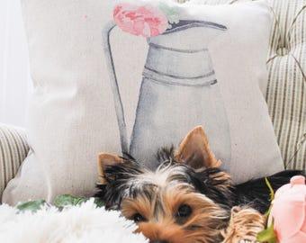 Farmhouse Floral Pillow Cover | Pink Floral Throw Pillow | Watercolor Pillow Cover | Farmhouse Cottage Decor | Drop Cloth Pillow