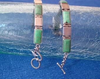 Turquoise Bracelet, Kingman Mine, Sterling Silver