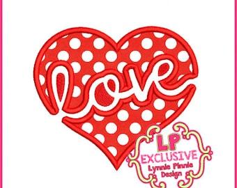 Love Heart 2 Applique 4x4 5x7 6x10 7x11 Machine Embroidery Design