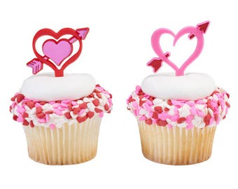 Heart Arrow's Valentine Day's Cupcake Picks - 24 Count