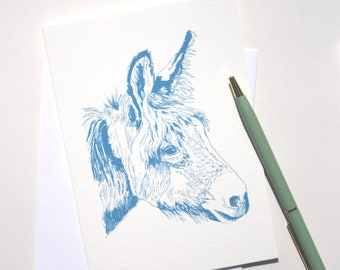 greetings cards - pack of 2 - with donkey illustration