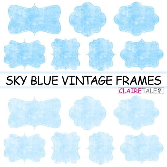 """Digital clipart labels: """"Sky blue VINTAGE FRAMES"""" grunge clipart frames, labels, tags on vintage sky blue background"""