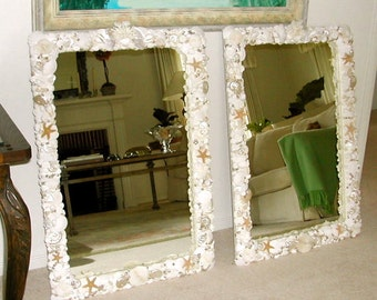 """Beach Decor -- Seashell Mirror with Coral and Starfish - 24"""" x 36"""""""