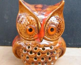 Vintage Owl Votive Holder Drip Glaze Finish