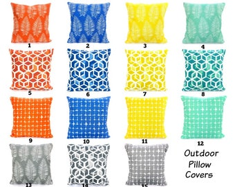 OUTDOOR Pillow Covers Decorative Cushions Aqua Gray Royal Blue Orange Yellow White Patio Pillows Deck Boat One or More Mix & Match ALL SIZES