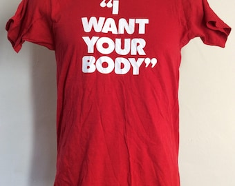 Vtg 70s I Want Your Body European Health Spas T-Shirt Red XS/S Funny
