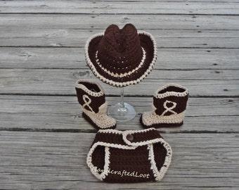 Newborn Baby Crochet Cowboy Hat Boots Photo Prop Set Outfit 0-3 Months Shower Gift
