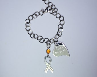 Personalized Kidney Cancer Awareness Ribbon Bracelet - Support, Memorial Jewelry - Heart Charm with Your Personalized Message