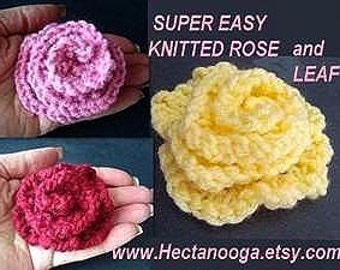KNITTING PATTERN,  ROSE  flower  num. 85 simple to make...... Permission to sell your finished flowers