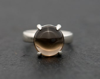Smoky Quartz Ring - Smoky Quartz Cabochon Ring - Smoky Quartz Statement Ring - Cabochon Quartz Ring - Dome Ring - Made to Order