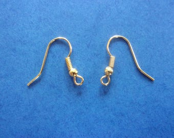 Set of 2 hooks for pierced ear hook, gold - 1.8 cm