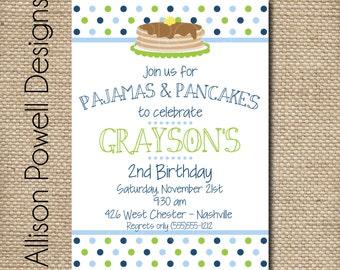 Boy Pajama and Pancake Birthday Party, Boy 1st Birthday,  Print your Own