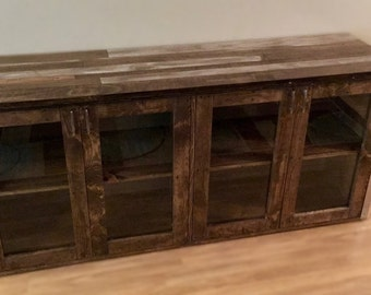 Distressed Wood Rustic Industrial Console Cabinet