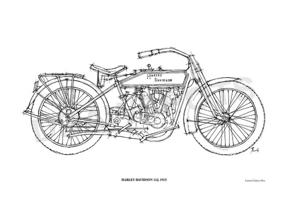 Harley Davidson 11j 1915 Original Handmade Drawing Print