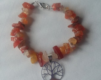 Tree of life/ red agate braclet