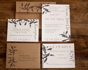 Rustic Wedding Invitation Holly Christmas Natural Wedding Invitation by Forget Me Knot Paperie {SAMPLE}