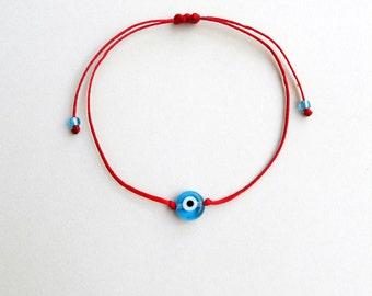 Minimalist bracelet, Kabbalah red string, Light blue evil eye,Simplicity,Unisex,Adjustable,Good luck,Mommy and me,Stacking spiritual jewelry