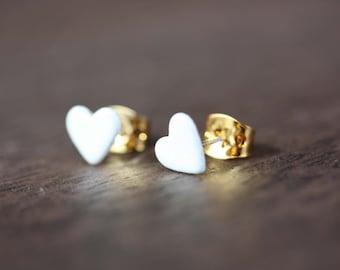 Heart Studs White, Small Heart Studs, White Heart Studs, Enamel Heart Studs, Small Gold Stud Earrings