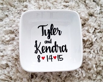 Personalized Name Ring Dish // Couples Ring dish // Handpainted Ring Dish //  Wedding Ring Dish // Jewelry Dish