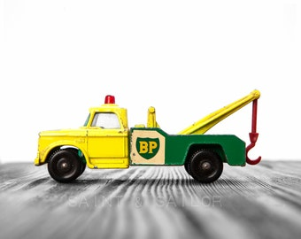 Vintage Green and Yellow BP Towtruck on White and Grey Photo Print,  Wall Decor, Playroom decor,  Kids Room, Nursery Ideas, Gift Ideas,