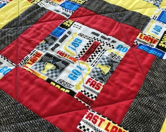 Racing Cars Pieced Quilt Hand Quilted Handmade 50x39 Racecar Toddler Quilt