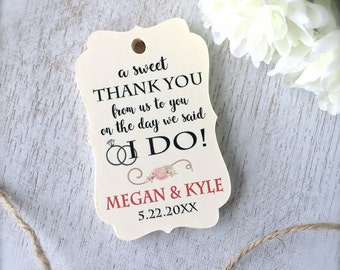 Sweets favor tags, wedding favor tags, custom thank you tags, treats favor tags, wedding reception, sweet thank you tags - set of 30(tg47)