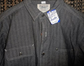 Rare  VERY COOL VINTAGE Classic Polo Jean Jacket/Shirt   80's    never worn     still has tags on