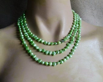 Green Pearl Necklace, 55 inches 6-7mm Freshwater Pearl Necklace, Long Pearl Necklace, Green Necklace, Bridesmaid Necklace,statement necklace
