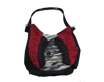 Handmade Shoulder Bag with Leopard Print Denim and Felted Front Panel