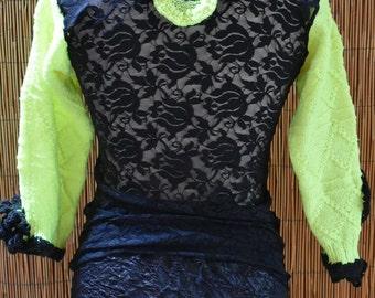 Black and neon yellow mesh shirt