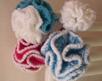 Flower shower / wool crocheted tawashi * Ø 7 or 10 cm / choice of colors * eco friendly washable - size baby or adult