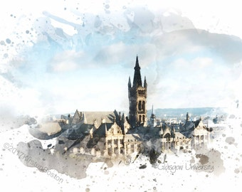 Glasgow University by Kirsten Boston, Giclée, Watercolour, Graduation Gift, Scottish University, Signed, Digital, Print, A5, A4, A3