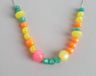 Moonglow vintage lucite bead necklace