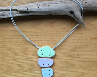 4 Piece Summer Pastels Sea Pottery Pendant Necklace