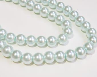 Light Blue glass pearl beads round 10mm full strand DB75127