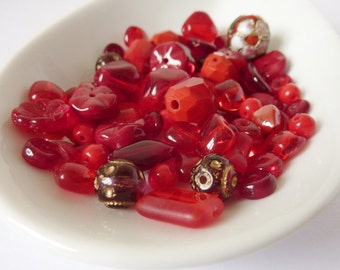 Red Bead Mix, Red Bead Soup, Dark Red Glass Beads, Mixed Bead Lot, Destash Beads UK