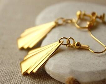 Gold Art deco Earrings Gold Deco Earrings Geometric Earring  HOOKS or CLIP Earrings Fan Earrings Gold Art Deco dangle earring golden E503