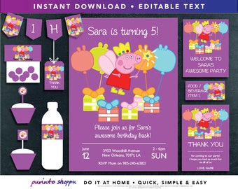 Peppa Pig Birthday Party Printables / Invitation - INSTANT DOWNLOAD - Fully EDITABLE text