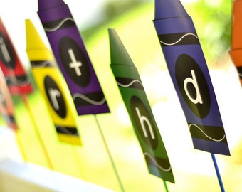 Crayon PRINTABLE Party Happy Birthday Banner (INSTANT DOWNLOAD) by Love The Day